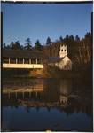 Covered Bridge Over A Stream Near A Church In Stark, New Hampshire, All Is Reflected In Stream by George French