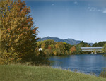 Covered Bridge In Conway,new Hampshire With Moat Mountain In Distance by George French
