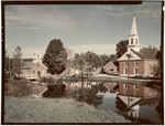 Brick Church And School Reflected In A Pond In Harrisville, New Hampshire by George French