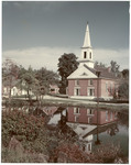 Brick Church Reflected In A Pond In Harrisville, New Hampshire by George French