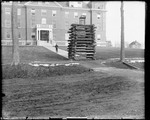 Chair Atop A Cribwork Of Logs Outside A Dorm, Bates College, Lewiston by George French