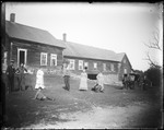 Family With Horse & Buggy Outside Large Rural Farmhouse And Barn by George French