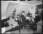 Young Men Playing Cards In A Dorm Room (Bates College) by George French