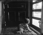 Baby Looking At A Dog Through A Screen Door by George French