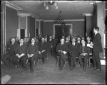 Large Group Of Men Seated In A College Classroom Listening To A Professor, New Jersey by George French