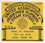 Union label by United Association of Journeymen Plumbers and Steam Fitters of the United States and Canada