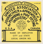 Union label by United Association of Journeymen and Apprentices of Plumbing and Pipe Fitting Industry of the United States and Canada