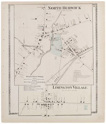 Limington Maine Map.Map Of North Berwick And Limington Village With A Business Directory F
