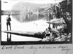 Duck Pond. Myron Avery Fishing from Log; Drew Fishing from Beaver Lodge by David Field