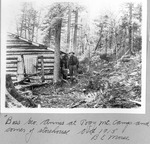 Boss Geo. Annis At Pogy Mt. Camp and Corner of Storehouse, Oct., 1913 (B.E. Morse) by David Field and B. E. Morse