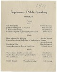 Sophomore Public Speaking Program, 1917 by Blue Hill Academy and George Stevens Academy