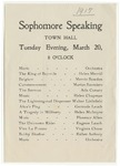 Sophomore Public Speaking Program, March 1917 by Blue Hill Academy and George Stevens Academy