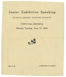 Junior Exhibition Program, 1922 by Blue Hill Academy and George Stevens Academy