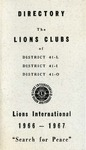 Directory of the Lions Clubs of District 41-L, 41-I, 41-O 1966-1967