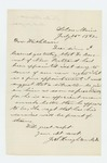 1862-07-26  Dr. Houghton writes to Governor Washburn approving appointment of Dr. Bennett as assistant surgeon
