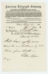 1862-08-11  Ellis Spear telegrams Colonel E.K. Harding that he is sending 87 recruits to Portland
