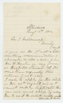 1862-08-13  Grenville Baker requests return of his letters of recommendation