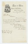 1864-08-23  Adjutant General Hodsdon replies to Caroline Roney asking about her husband's company and regiment