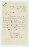 1865-07-12  Corporal Hiram W. Kaler requests his muster in order to receive discharge