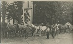 Horse team moving the Conway Memorial Boulder up Elm Street, 1906