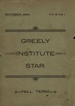 The Greely Institute Star October 1896 Vol. 2 No. 1