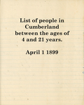 List of People in Cumberland between the Ages of 4 & 21 Years 1899