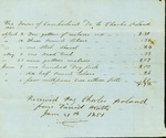 Charles Poland Bill for Supplies for Town Poor, January 21, 1851 by Cumberland (Me.)