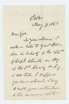 1863-05-09  Israel Washburn writes Governor Coburn to recommend Captain Atwell for promotion
