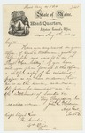 1864-08-04  Adjutant General Hodsdon writes Captain Elijah Low requesting enlistment papers for Ezra E. Woodman
