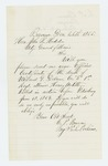 1865-12-26  C.P. Brown requests a death certificate for Willard Delano of Company E, who was killed at Petersburg June 18, 1864