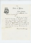 1861-05-12 Governor Israel Washburn writes to Joseph B. Hall regarding payment for transportation of 2nd Regiment from Boston to New York by Israel Washburn