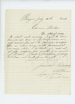 1861-07-16 A.D. Harlow, leader of the 2nd Maine Regiment band, requests uniforms from Governor Washburn by A. D. Harlow