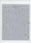 1861-10-30  S.B. Field writes to Adjutant General Hodsdon regarding difficulty recruiting men and asks for a position
