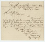 1862-04-17  Colonel Charles Roberts requests appointment of A.D. Palmer as Assistant Surgeon