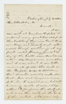 1862-07-08  Dr. S.B. Morrison writes to Governor Washburn that he is very ill in Douglas Hospital