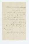 1862-10-17  H.W. Cushman requests a copy of his descriptive list be sent to him in hospital