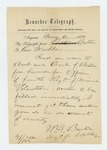 1861-05-11 Adjutant Banks telegraphs request for an order of swords for officers by W. A. Banks
