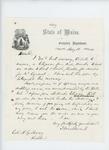 1861-05-12  Governor Washburn responds to Colonel Berry that he received Captain W.A. Banks's request for flannel