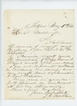 1861-05-02 Thomas H. Marshall notifies Governor Washburn his company is in service of Major General Titcomb by Thomas H. Marshall
