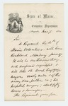 1861-06-07 Governor Washburn writes Secretary of War Edwin Stanton, informing him the 4th Regiment will soon leave Maine by Israel Washburn Jr.