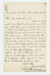 1861-11-22  Lieutenant Charles L. Strickland requests a letter of recommendation from Governor Washburn