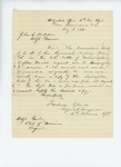 1861-08-08  Sergeant Major Frederic Speed requests a new descriptive book