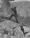 Climbers Using Ropes to Ascend Mount Katahdin in Maine
