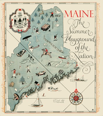 Image Graphic Map of the State of Maine: Maine, the Summer ...