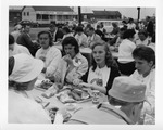 Rockland Seafood Festival, 1958 - Reigning Sea Queen Eating Lobster by Maine Department of Sea and Shore Fisheries
