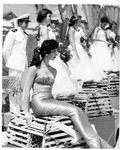Rockland Seafood Festival, 1958 -  Mermaid and Sea Queen Court on a Naval Ship
