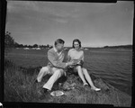 Rockland Seafood Festival, 1958 -  Man and Woman with Lobster
