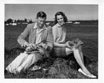 Rockland Seafood Festival, 1958 - Man and Woman with Lobsters by Maine Department of Sea and Shore Fisheries