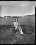 Rockland Seafood Festival, 1958 - Woman with Lobster 2 by Maine Department of Sea and Shore Fisheries