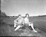 Rockland Seafood Festival, 1958 - Man and Woman with Lobster by Maine Department of Sea and Shore Fisheries